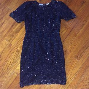 Stenay Vintage Silk & Beaded Blue Dress, 4 Petite
